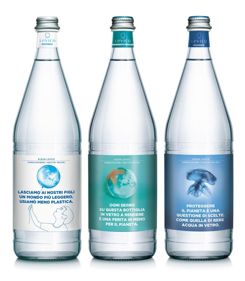 Levico acque bottiglie etichette manifesto